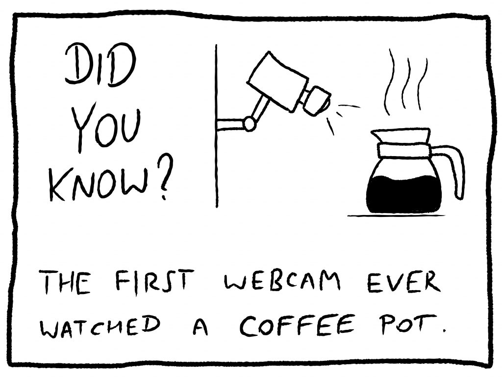 Illustration asking if you know about the first webcam used for watching a coffee pot